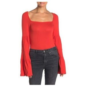 NEW Free People red bell sleeve top